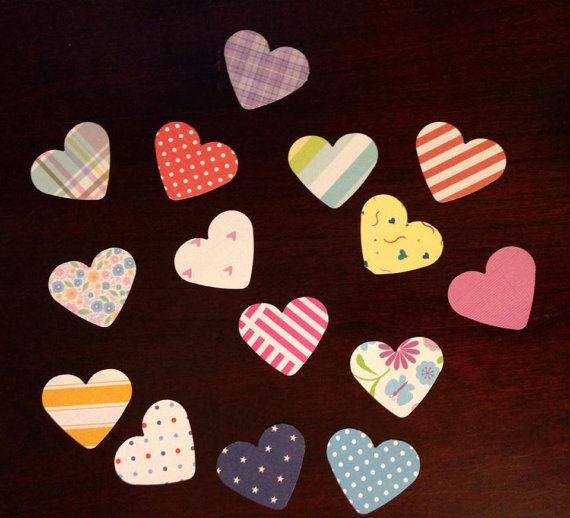30 Assorted Pre-cut Heart Shape Stickers / Washi Tape  Great planner or scrapbook accessories!