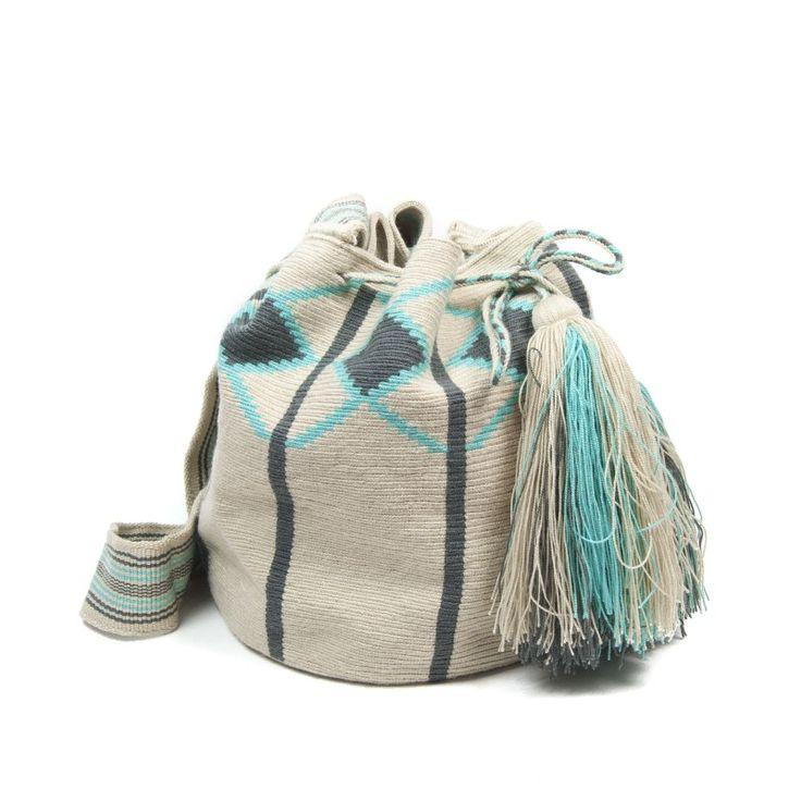 Colores tejido a mano en crochet asa tipo banda bolso for Sala gris con turquesa