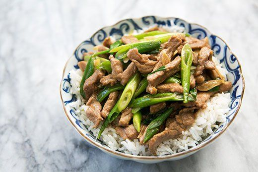 Pork Stir Fry with Green Onion ~ Lean pork sliced into shreds and stir-fried Chinese style with green onions and garlic. ~ SimplyRecipes.com