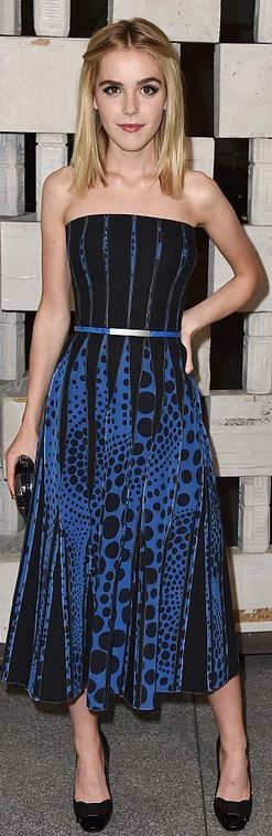 Who made Kiernan Shipka's blue and black polka dot strapless dress?