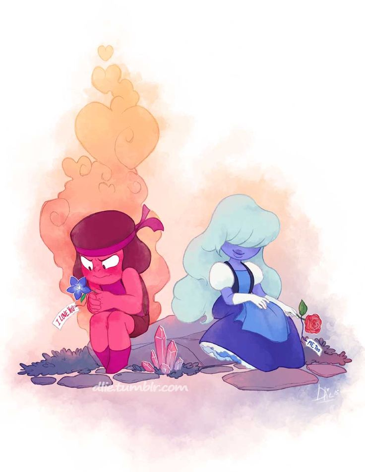 dlie:  Rubies are Red Sapphires are BlueI love youDo you love me too? I ship these two they are so cute .If you haven't yet go watch Steven Universe, it's just the best animated show airing right now. Period.