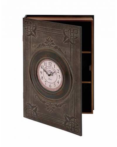 Rustic Dark Brown Wooden Wall Box Clock In Paris Theme