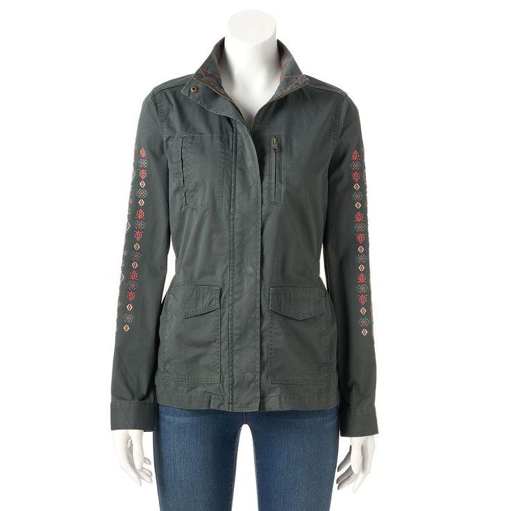Women's SONOMA Goods for Life™ Embroidered Utility Jacket, Size: Medium, Grey
