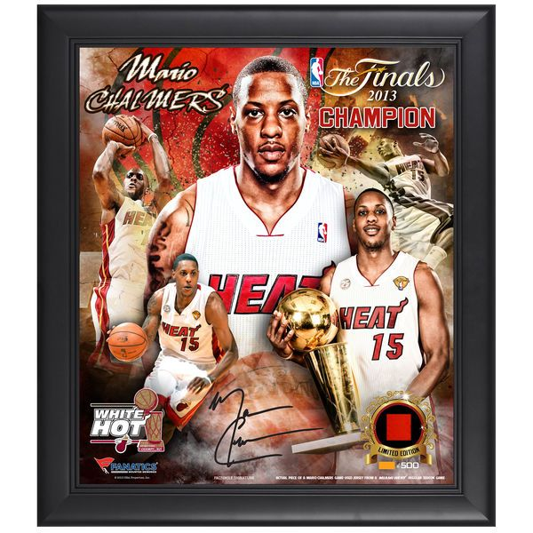 "Mario Chalmers Miami Heat Fanatics Authentic Framed 15"" x 17"" 2013 NBA Finals Champions Multi-Photograph Collage with Game-Used Jersey Piece-Limited Edition of 500 - $23.99"