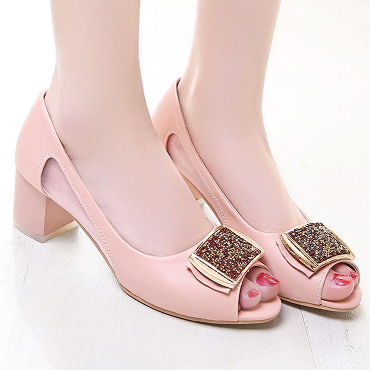Женская Обувь Насосы Открытым Носком На Высоком Каблуке Rhinestone Свадебная Обувь Белый Женская Обувь Вырез Коренастый Каблуки Голубые Размер 34-43 878-0A