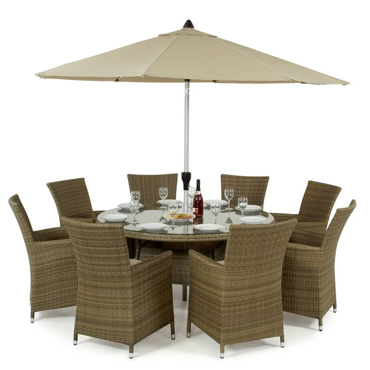 Maze Rattan's Tuscany LA 8 Seat Round Garden Dining Set is a marvelous focal point for any garden. Hand woven from natural looking synthetic rattan, comes with a 5 yar warranty and can be left outdoors all year round, meaning no fuss when the weather arrives.