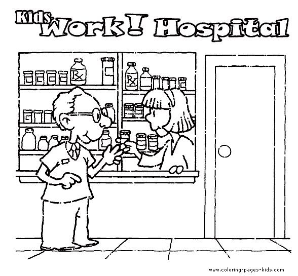 coloring pages hospital theme - photo#2