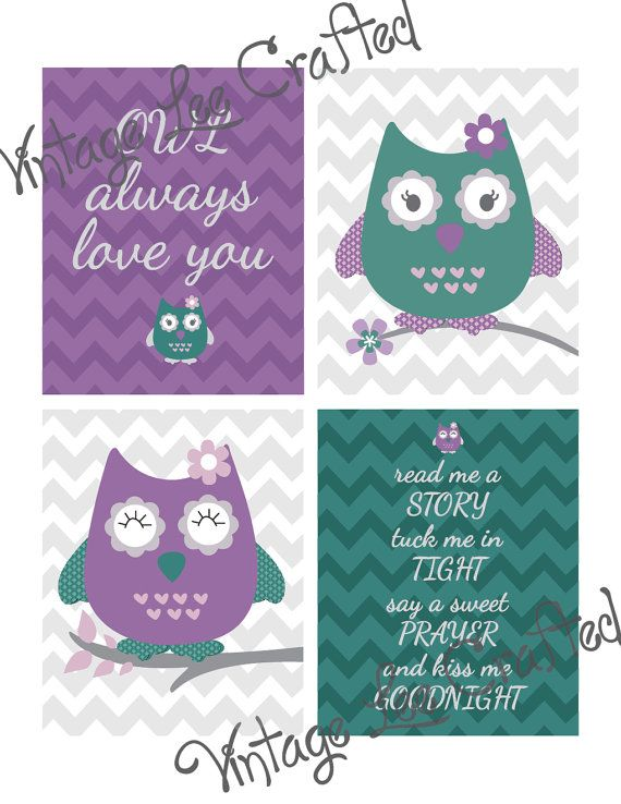 owl prints for nursery, baby girls room, owl theme nursery, artwork for childrens room, purple teal prints, pink and teal girls room, owl