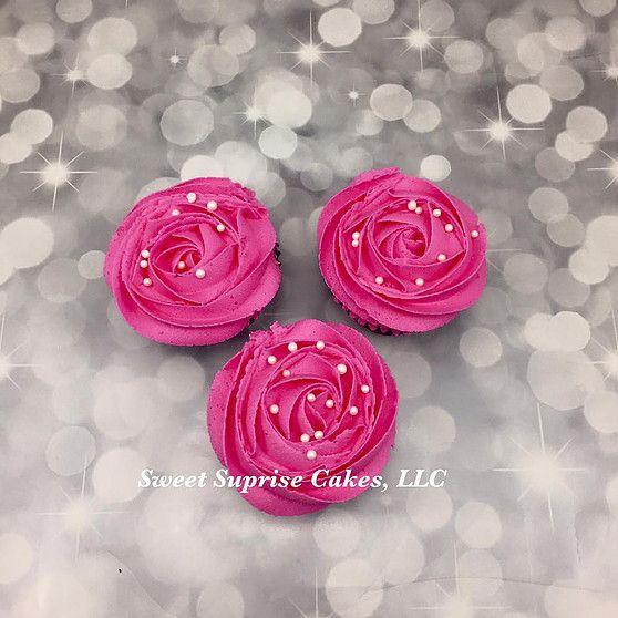 Hot pink Rosette cupcakes