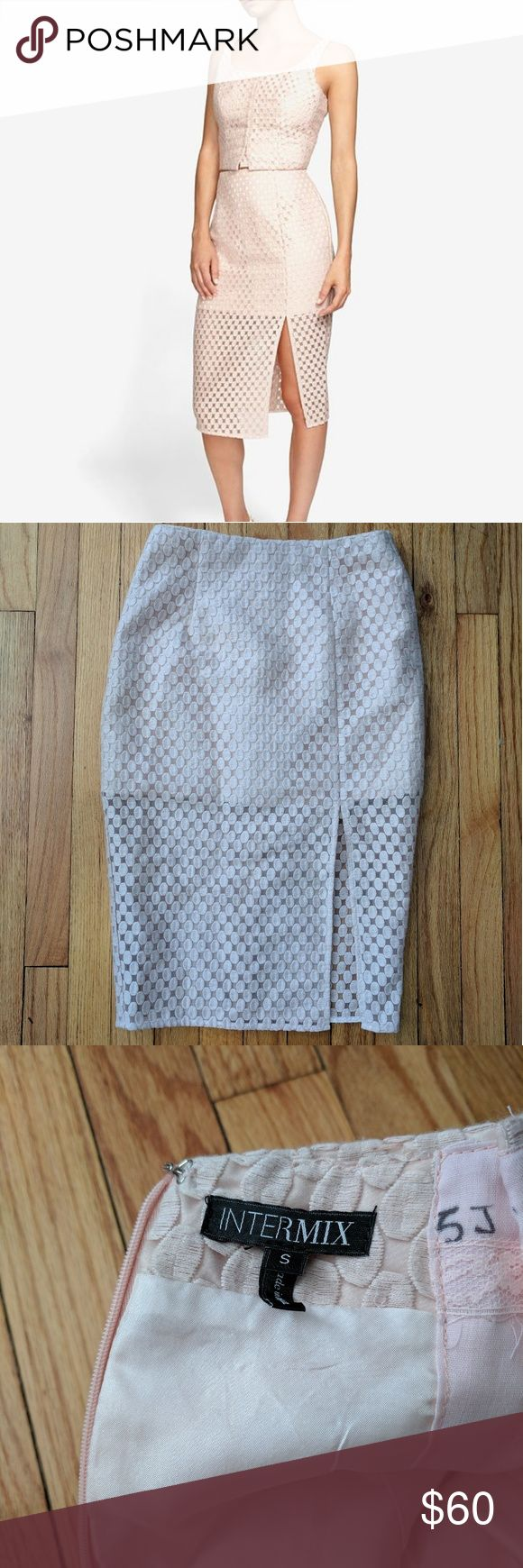 "Intermix Embroidered lace skirt and crop top Blush pink pencil skirt and crop top matching set with embroidered dot pattern. Skirt is lined about halfway down and the rest is sheer. Skirt zips up the back. Top fastens with hook and eyes in the front. Skirt length 36"" and waist 13.5"" across. Top about 15.5"" shoulder to hem and bust 16.5"" across. Condition is good, some loose threads here and there. Stock photo is true to color. Intermix Dresses"