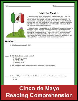 Quick - Ready to PRINT & GO - for Cinco de Mayo! Students will learn the basics around the holiday: - What does Cinco de Mayo mean in Spanish- When is it celebrated- What event in history is the basis of the holiday- Where the holiday is celebrated and who celebrates- Different ways it is celebrated around the world-------------------------------  WANT Freebies & Updates?