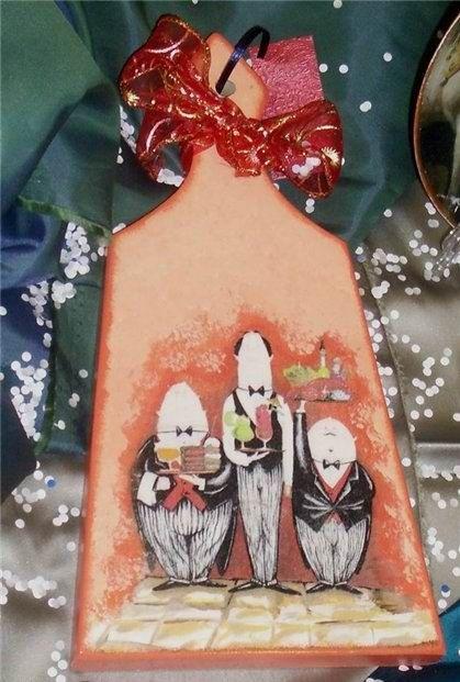 """Декупаж для начинающих - кухонная доска """"Официанты"""" - Ярмарка Мастеров - ручная работа, handmade"""
