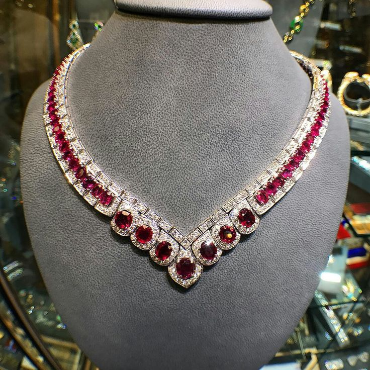A very elegant #ruby and #diamond necklace  #American made circa 1975