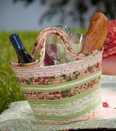 Coiled Fabric Picnic Basket