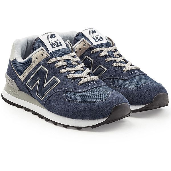 New Balance ML574 Sneakers ($135) ❤ liked on Polyvore featuring men's fashion, men's shoes, men's sneakers, blue, mens blue shoes, new balance mens sneakers, mens navy blue sneakers and new balance mens shoes