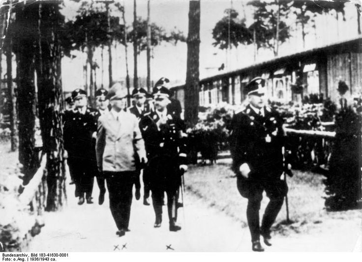 Interior Minister Wilhelm Frick and SS chief Heinrich Himmler touring the Sachsenhausen concentration camp in Oranienburg, Brandenburg, Germany, 1936