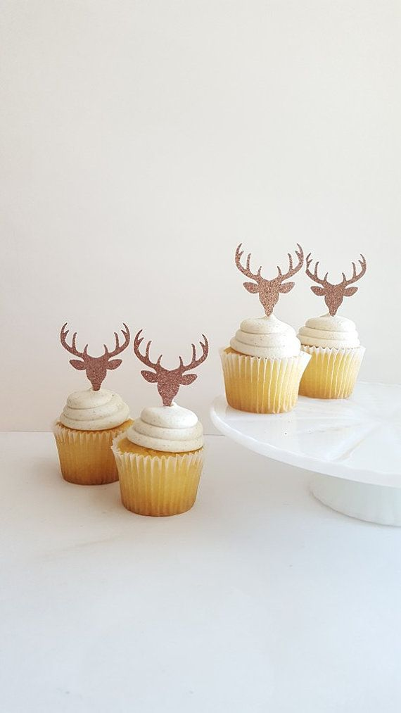 Deer Head Glitter Cupcake Toppers {Dozen} Antler Rack, Hunting Party Decoration, Birthday Party Decor, Baby Shower Theme Deer Head 18 COLORS