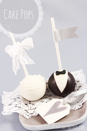Bride & Groom Cake pops instead of feeding each other a piece of cake
