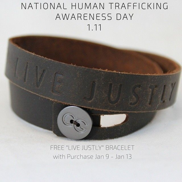 In support of National Human Trafficking Awareness Day on January 11th, all CAUSEGEAR purchases this week include a limited edition LIVE JUSTLY leather bracelet.  Choose to Live Justly and support the causes that are fighting to end the injustice of modern day slavery ! . . #causegear #ForHumanJustice #nationalhumantraffickingawarenessday #endslavery #ethicalfashion #gearforgood #livejustly #madebyfreewomen