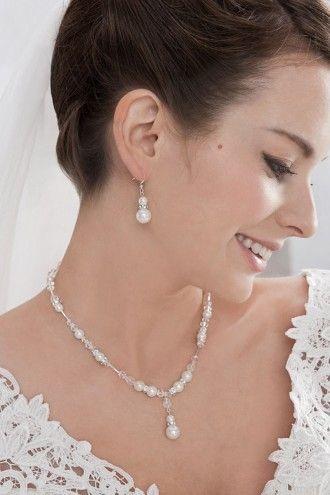 Braut Halsschmuck Perlenkette + Ohrringe