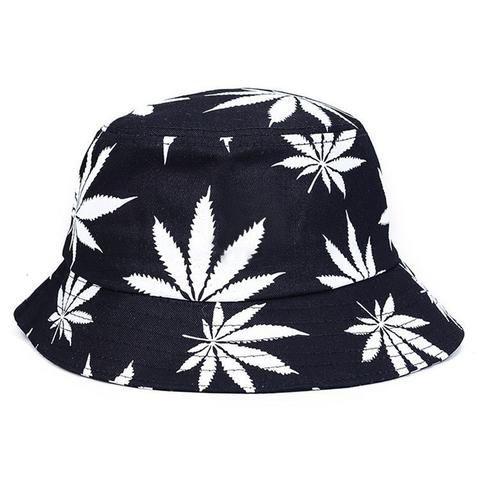 New Fashion Spring Summer Autumn Winter Green White Leaf Print Fishing Caps Weed Bucket Hats For Men Women Unisex Hat