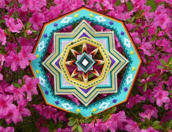 Golden Sun a 18 inch acrylic yarn mandala by by JaysMandalas, $80.00