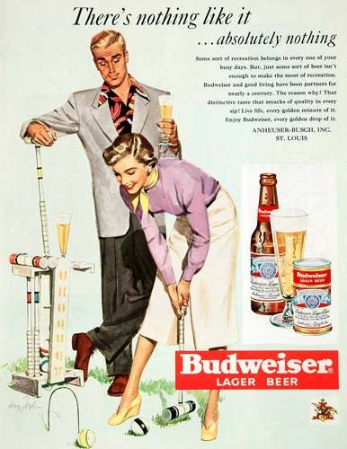 1950 Ad Budweiser Lager Beer Anheuser Busch Brewery St Louis Croquet Mallet Howe | eBay