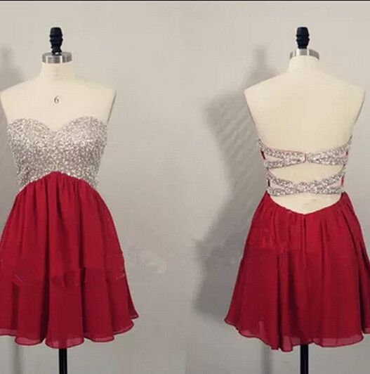 Cute Short Burgundy Beaded Knee Length Cross Back Prom Dresses 2015, Homecoming Dresses 2015, Graduation Dresses 2015,#burgundy