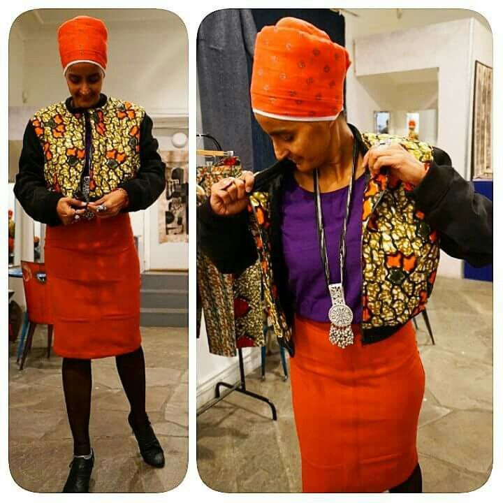 """I wish that every time I """"liked"""" an outfit on instagram it would magically appear  in my closet   Authentic bomber jacket in African print matches the pencil skirt, an elegant classic ☺  Follow @sabaratay , a clothing brand, where the mixture of patterns, colors, shapes and materials come together to create something unique.  #justafrica #sabaratay #fashion #slussen #stockholm #indiskaofficial #africanprint #sofo #vest #indian"""