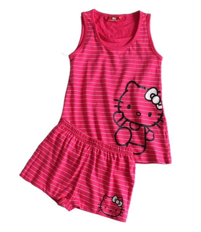 Ensemble Hello Kitty T-shirt et short rose fushia raye Enfant Fille par UnCadeauUnSourire.com
