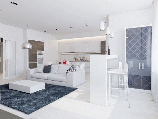 Sparkling White Apartment With Hideaway Home Offices. Condo DesignHome  Interior ...