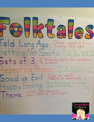 Folktale Anchor Chart:  elements of folktales and providing evidence