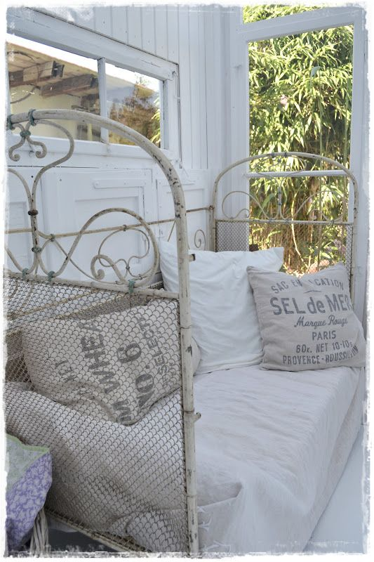 Daybed Living Room Sitting Area Whitewashed Cottage chippy shabby chic french country rustic swedish idea.. ***Pinned by oldattic ***.