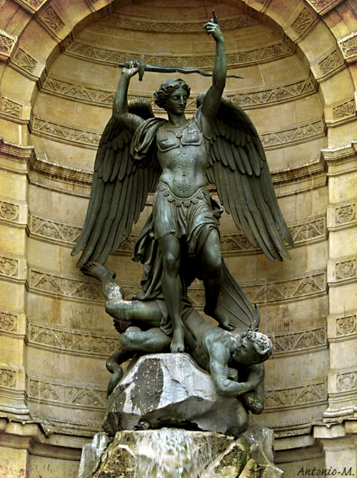 Saint Michael, victorious over Satan.