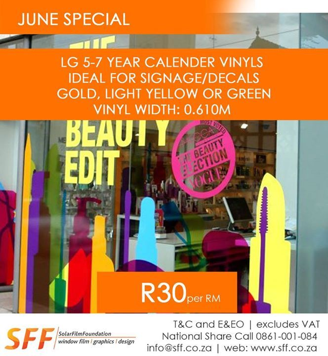 LG 5-7 year calender vinyls – Ideal for Signage/Decals Gold, Light Yellow or Green R30.00 ex vat per RM
