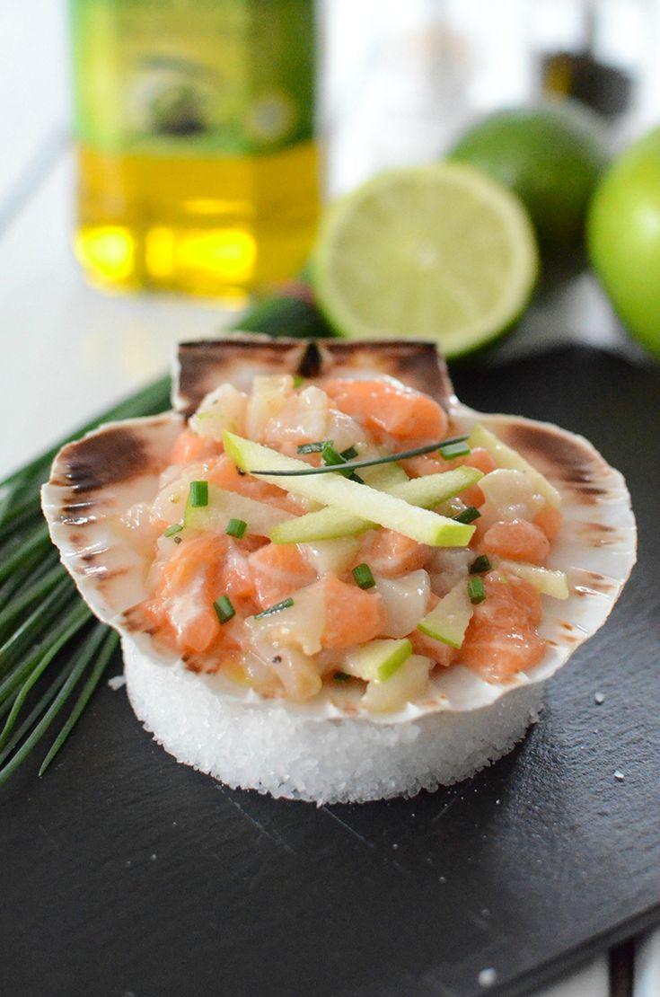 Ceviche de saumon et de noix de Saint-Jacques au gingembre et pomme verte #recette #ceviche