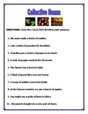 Collective Nouns Worksheets from Mr. Dachshund Study Resources on TeachersNotebook.com -  (4 pages)  - Collective Nouns Worksheet: This is a two-page activity that requires students to identify collective nouns in sentences.  Answer key is included.