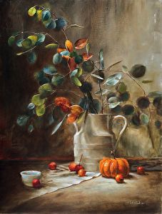 Pumpkin and Leaves by LOIS EAKIN http://dailyartshow.faso.com/20141118/1611915