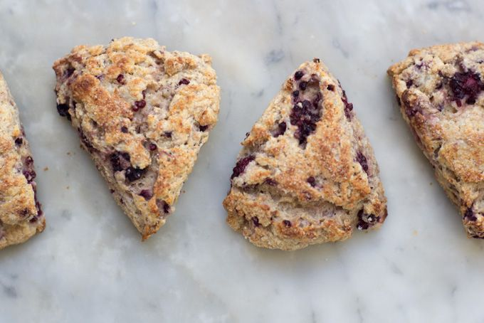 Whole Wheat Blackberry Ricotta Scones, 101Cookbooks (WW and AP flours, baking powder,