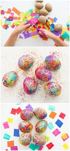 Sparkly Diy Glitter And Tissue Paper Easter Eggs Easter Crafts