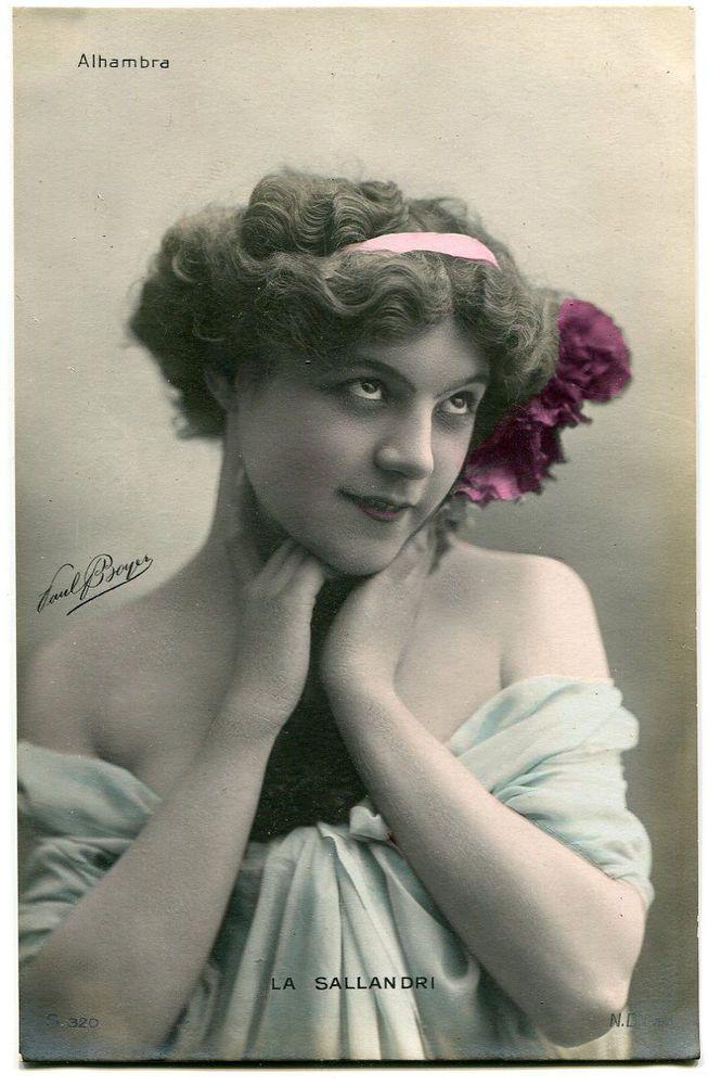 Vintage French RPPC postcard - Artist Stage Star La Sallandri - Paul Boyer