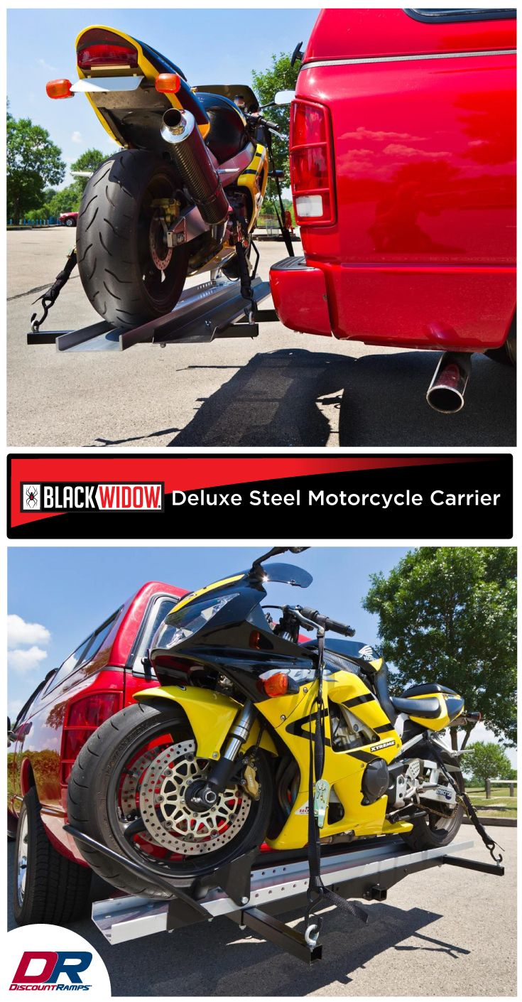 "Easily haul your motorcycle with this affordably-priced heavy-duty motorcycle carrier. The 600-lb. capacity steel motorcycle carrier attaches to your vehicle's Class III or IV 2"" receiver and features a loading ramp which stores conveniently on the carrier when not in use, allowing you to load and transport your dirt bike or motorcycle safely and easily. Featuring heavy-duty steel construction, this competitively-priced motorcycle carrier is a no-brainer for anyone looking to haul their bike…"