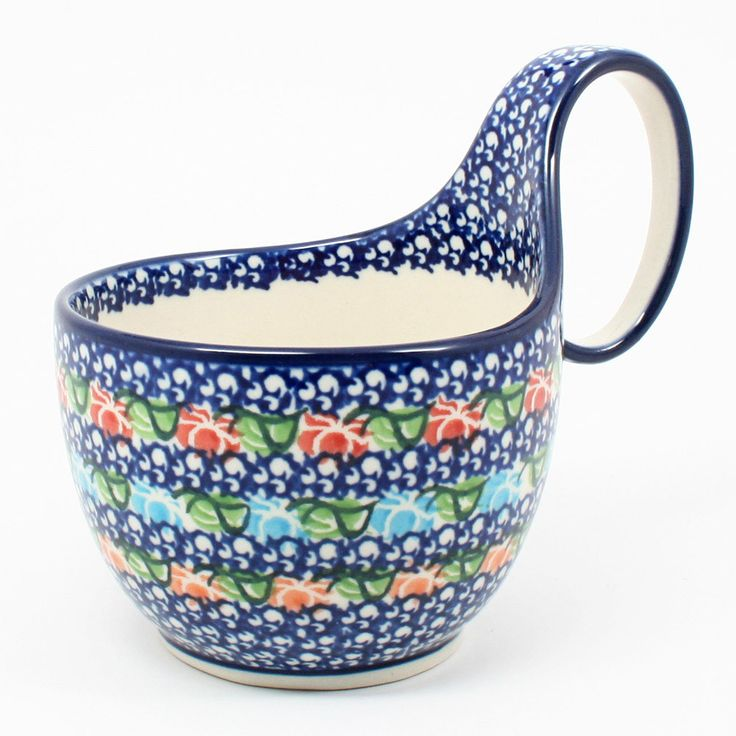 polish-pottery-soup-bowl-with-handle-#1725