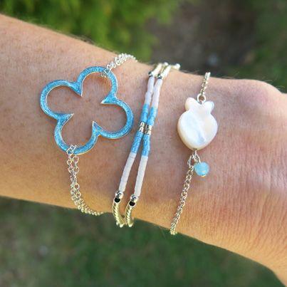 """Bracelets : Bracelet chaîne """"Trèfle Seventies"""" Brin d'Amour"""