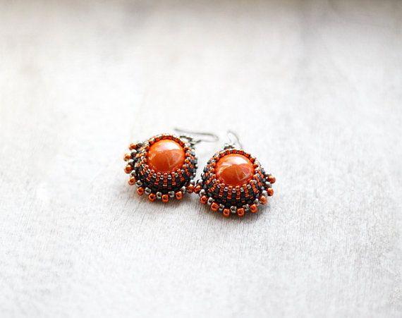 Orange and Gray Earrings, Ceramic Sphere Orange Earrings, Orange and Silver Ball Earrings, Spring Colors, Spring Fashion Earrings