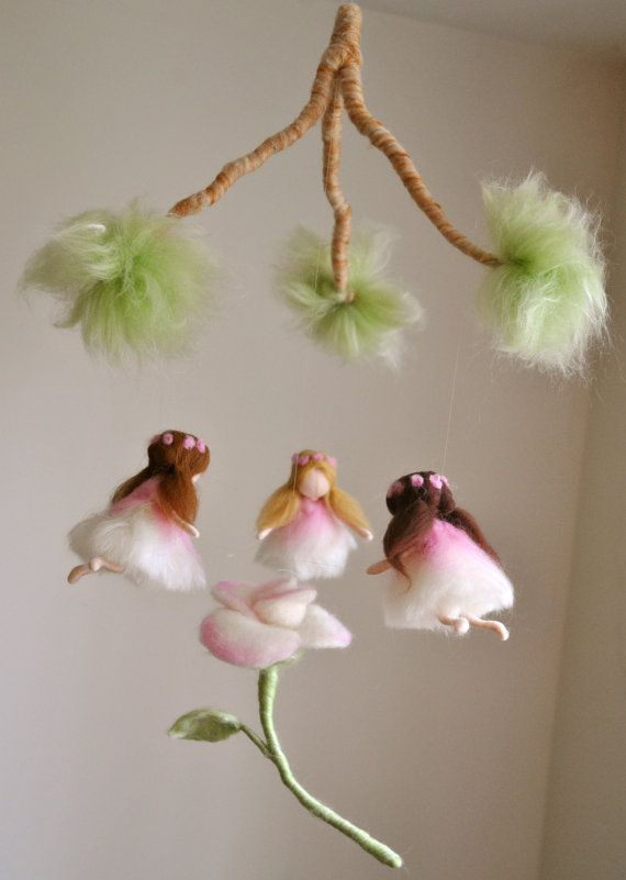 Nursery Mobile Waldorf Inspired: Three fairies . Made to order