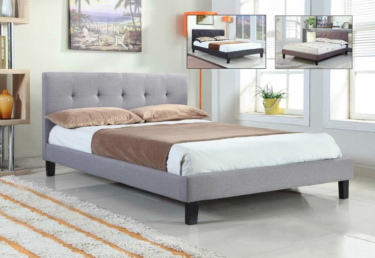 Modern Fabric Upholstered Grey Brown Black Bed Frame Double King Size  | eBay