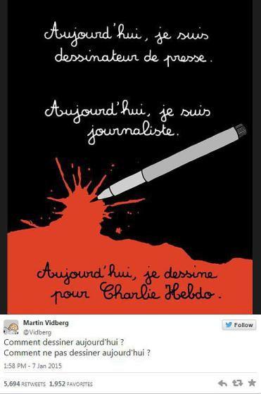 """So reagieren Zeichner aus aller Welt auf den Tod ihrer Kollegen beim Satiremagazin Charlie Hebdo"""": """"Heute bin ich Zeichner für eine Zeitung - Heute bin ich Journalist - Heute zeichne ich für Charlie Hebdo"""" """"Wie kann man heute zeichnen? Wie kann man heute NICHT zeichnen?"""", fragt sich Marin Vidberg. Mehr dazu hier: http://www.nachrichten.at/nachrichten/weltspiegel/Charlie-Hebdo-als-Zeitschrift-der-Ueberlebenden;art17,1598439 (Bild: Marin Vidberg)"""