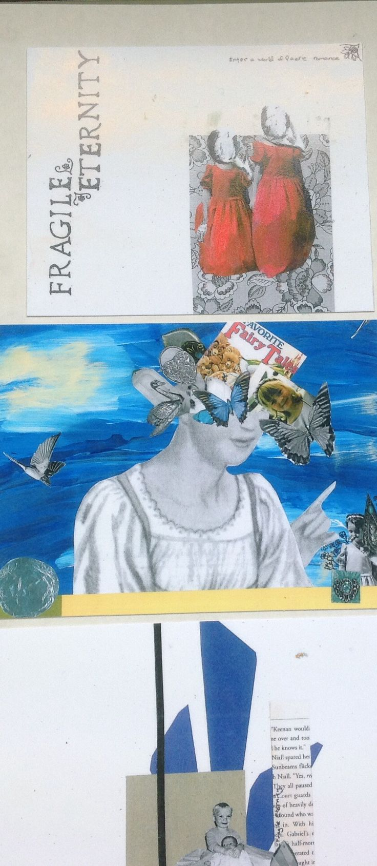 Collaged mixed media copied onto photography paper x3
