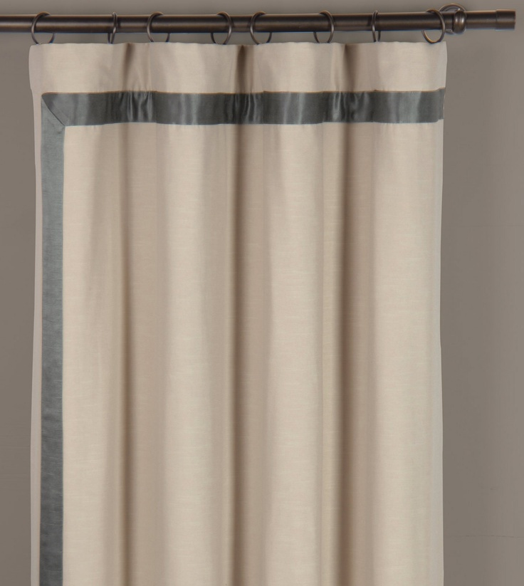 Winter White Curtains With Gray Silk Banding Mitered